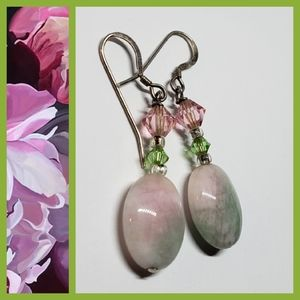 Vintage Crystal Pink & Green Dangle Earrings